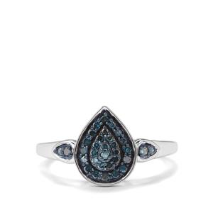 1/4ct Blue Diamond Sterling Silver Ring