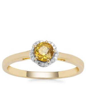 Ambilobe Sphene Ring with Diamond in 9K Gold 0.47ct