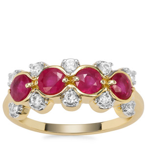Burmese Ruby Ring with White Zircon in 9K Gold 1.38cts