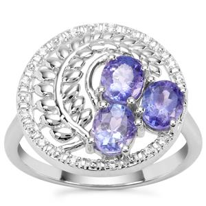 AA Tanzanite Ring with White Zircon in Sterling Silver 1.56cts
