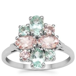 Aquaiba™ Beryl, Cherry Blossom™ Morganite Ring in 9K White Gold 2.04cts