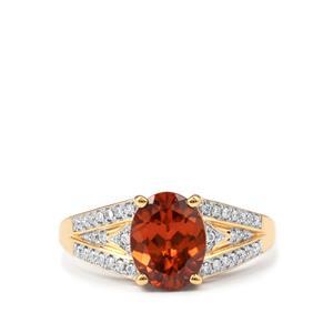 Zanzibar Sunburst Zircon Ring with Diamond in 18k Gold 2.75cts