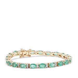 Zambian Emerald & White Zircon 9K Gold Tomas Rae Bracelet ATGW 10.91cts