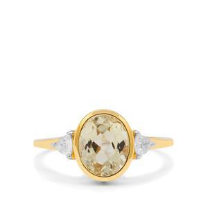 Minas Gerais Canary Kunzite & White Zircon 9K Gold Ring ATGW 2.75cts