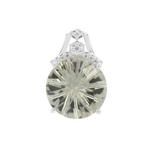 Honeycomb Cut Prasiolite Pendant with White Zircon in Sterling Silver 5.45cts