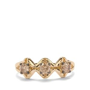 1/2ct Champagne Diamond 10K Gold Tomas Rae Ring