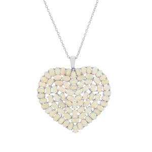 Ethiopian Opal Pendant Necklace in Platinum Plated Sterling Silver 12.32cts