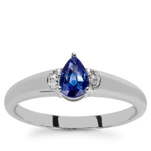 Ceylon Blue Sapphire Ring with White Zircon in 9K White Gold 0.65ct