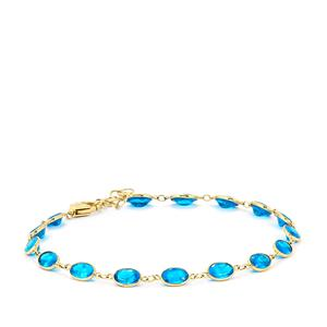 Neon Apatite Bracelet in 9K Gold 6.96cts