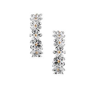 Daisy Two Tone Sterling Silver Earrings 2.80g
