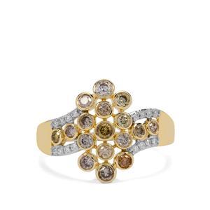 3/4ct Multi-Colour & White Diamond 9K Gold Ring