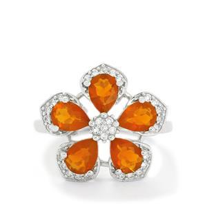 AA Orange American Fire Opal & White Topaz Sterling Silver Ring ATGW 2.51cts
