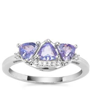 Tanzanite Ring with White Zircon in Sterling Silver 0.92ct