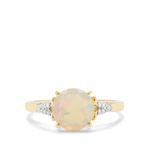 Ethiopian Opal & Diamond 9K Gold Ring ATGW 1.14cts