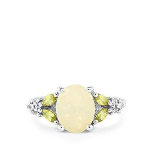 Ethiopian Opal, Ambilobe Sphene & White Zircon Sterling Silver Ring ATGW 1.97cts