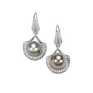 Tahitian Cultured Pearl Earrings with White Zircon in Sterling Silver (11 X 9mm)