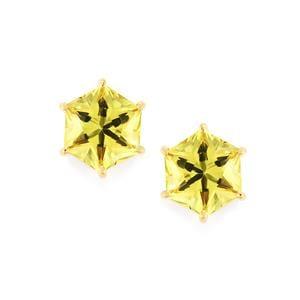 4.63ct Lemon Quartz 10K Gold Earrings