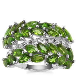 Chrome Diopside Ring with Green Diamond in Sterling Silver 4.03cts