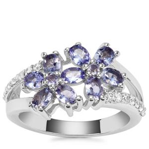 Tanzanite Ring with White Zircon in Sterling Silver 1.74cts