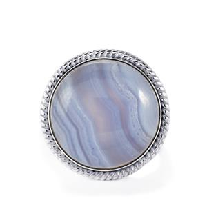 Blue Lace Agate Ring in Sterling Silver 24.69cts