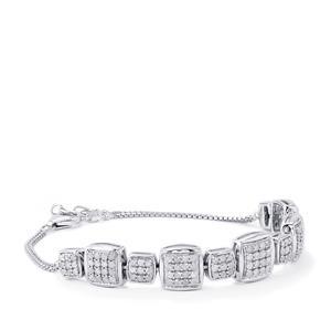 2.20ct Diamond Sterling Silver Bracelet