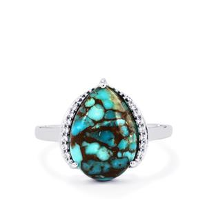 Egyptian Turquoise & White Topaz Sterling Silver Ring ATGW 5.91cts