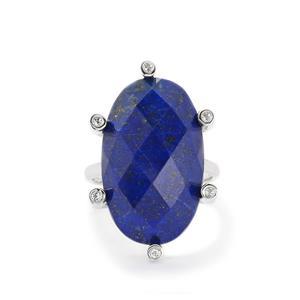 Sar-i-Sang Lapis Lazuli & White Topaz Sterling Silver Ring ATGW 20.33cts