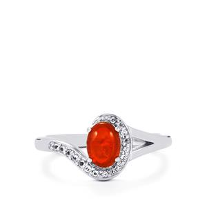 Ethiopian Red Opal & White Topaz Sterling Silver Ring ATGW 0.52cts