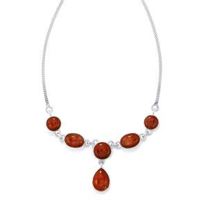 Fossil Red Coral Necklace in Sterling Silver 32cts