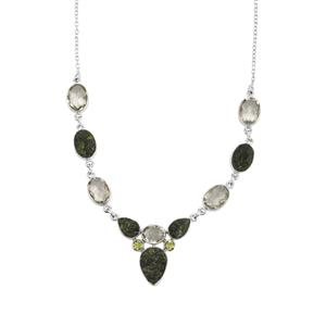 Chrome Diopside Drusy, Prasiolite Necklace with Changbai Peridot in Sterling Silver 61cts