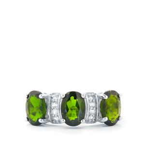 Chrome Diopside & White Topaz Sterling Silver Ring ATGW 2.63cts