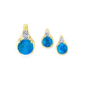 Neon Apatite & Diamond 10K Gold Set of Earrings & Pendant ATGW 1.02cts