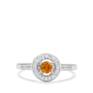 Diamantina Citrine & White Topaz Sterling Silver Ring ATGW 0.42cts