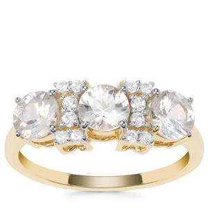 Singida Tanzanian Zircon Ring with White Zircon in 9K Gold 2.18cts