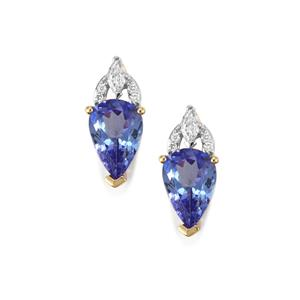 AA Tanzanite & Diamond 18K Gold Tomas Rae Earrings MTGW 2.93cts