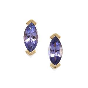 AA Tanzanite Earrings in 9K Gold 0.51ct