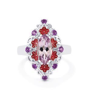 1.90ct Amethyst & Rose De France Amethyst Sterling Silver Ring