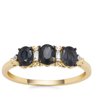 Natural Nigerian Blue Sapphire Ring with White Zircon in 9K Gold 1.03cts
