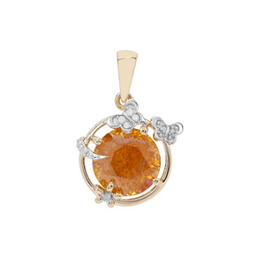 Aliva Sphalerite Pendant with Diamond in 9K Gold 5.25cts
