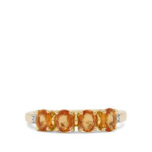 Tanzanian Sunset Sapphire Ring with Diamond in 9K Gold 1.26cts