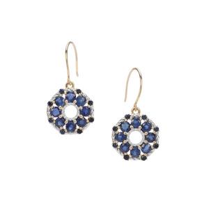 3.14ct Sant & Ceylon Blue Sapphire 9K Gold Earrings