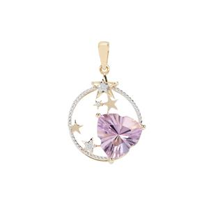 Lehrer Infinity Cut Rose De France Amethyst Pendant with Diamond in 9K Gold 5.37cts