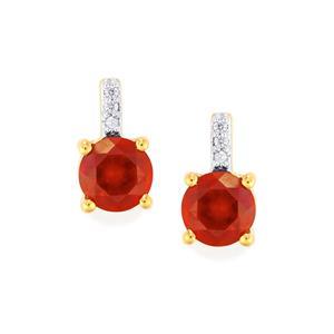 Hessonite Garnet & White Zircon Gold Vermeil Earrings ATGW 3.23cts