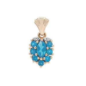 Neon Apatite Pendant with Diamond in 9K Gold 0.85ct