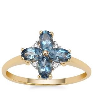 Nigerian Aquamarine Ring with White Zircon in 9K Gold 0.90ct