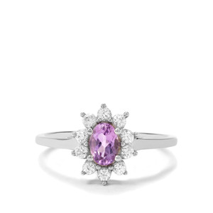 Moroccan Amethyst Ring with Natural Zircon in Platinum Flash Sterling Silver 0.95ct