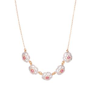Montepuez Ruby Necklace with Diamond in Gold Plated Sterling Silver 1.31cts