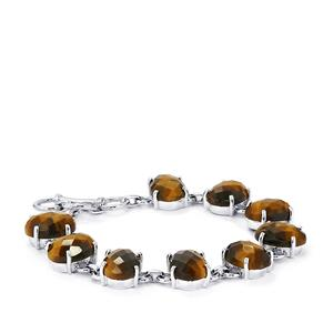 50.40ct Yellow Tigers Eye Sterling Silver Bracelet