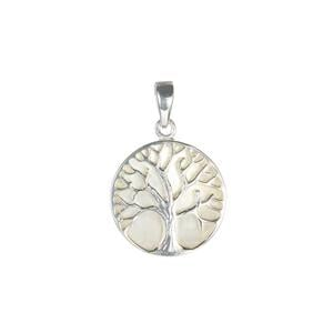 Mother of Pearl Tree of Life Pendant in Sterling Silver (17mm)
