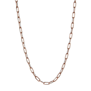 """18"""" Two Tone Gold Sterling Silver Classico Thin Rectangle Belcher Chain 3.90g"""
